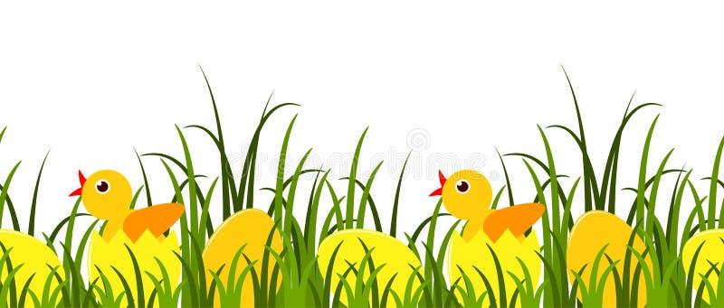bakgrundskanteaster ägg gräs green över white vektor illustrationer