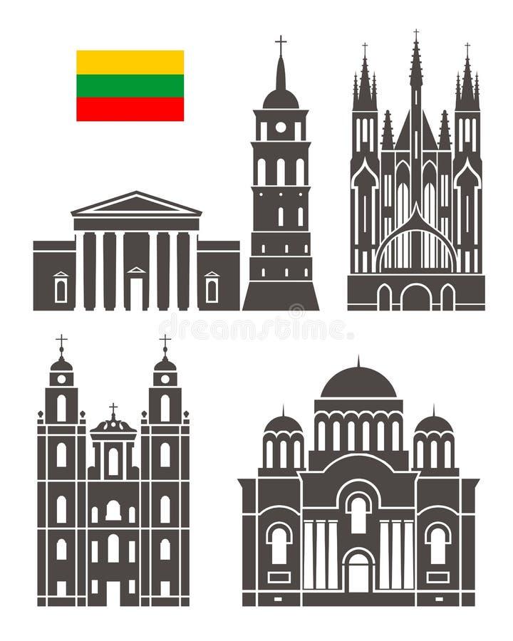 bakgrundskantlandet detailed för den lithuania för flaggor symboler isolerad white för form regionen set Isolerad Litauen arkitek vektor illustrationer
