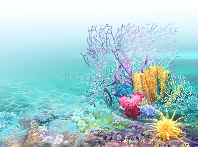bakgrundskorallrev vektor illustrationer