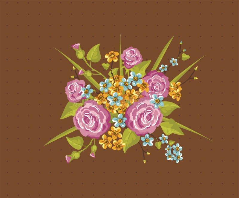 bakgrundskortet blommar rengöringsduk för tappning för hälsningssidamall universal royaltyfri illustrationer