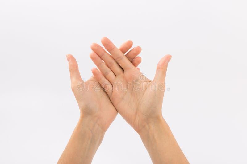 bakgrundskvinnlign hands white gester arkivbild