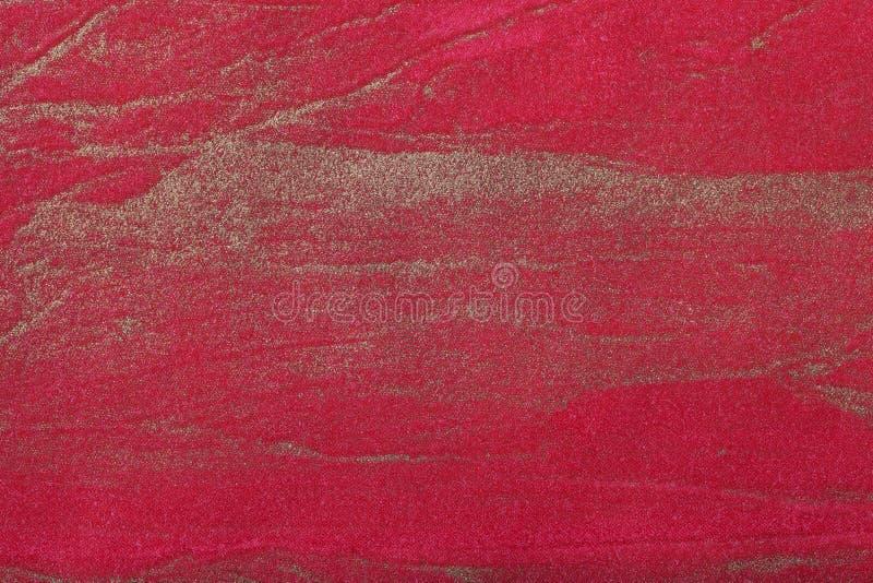 Bakgrundsmörker för abstrakt konst - som är rött med guld- färg Flerfärgad målning på kanfas Fragment av konstverk texturbakgrund arkivbild