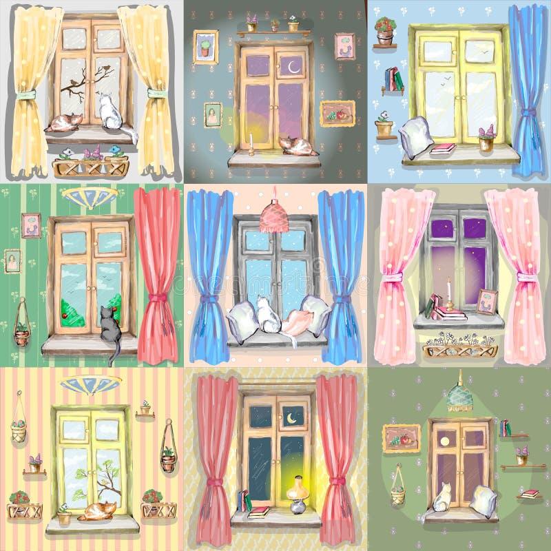 Bakgrundsmodell med fönster royaltyfri illustrationer
