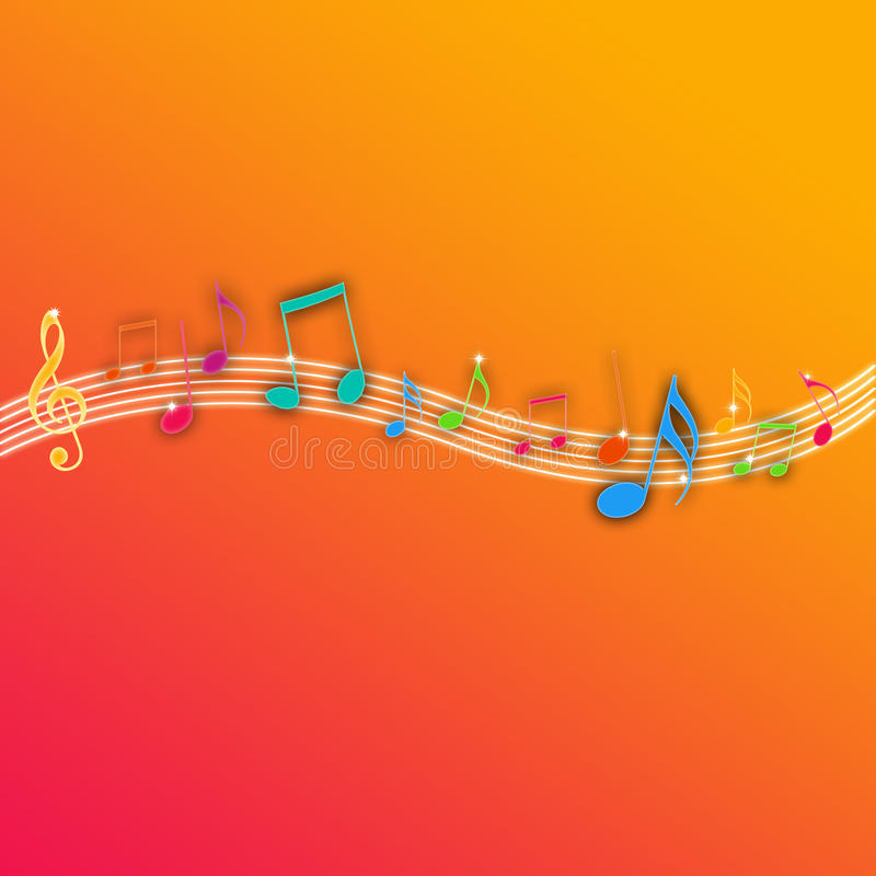 bakgrundsmusik bemärker orangen stock illustrationer