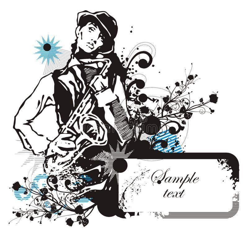 bakgrundsmusikerserie royaltyfri illustrationer