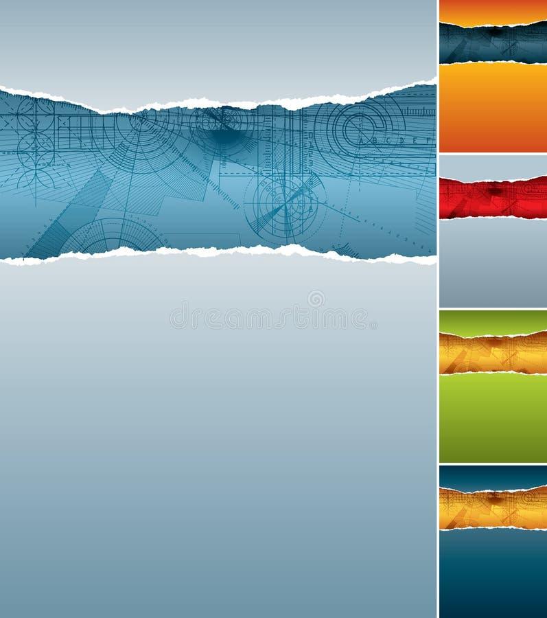 bakgrundspapper rev sönder tekniskt royaltyfri illustrationer