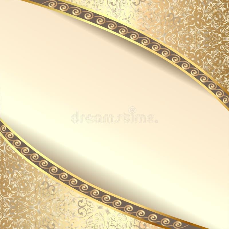 Bakgrundsramen med blommor av silke med guld blänker royaltyfri illustrationer