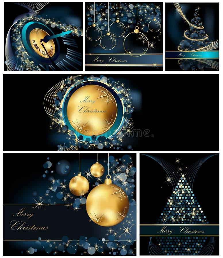 Bakgrundssamlingar för glad jul vektor illustrationer