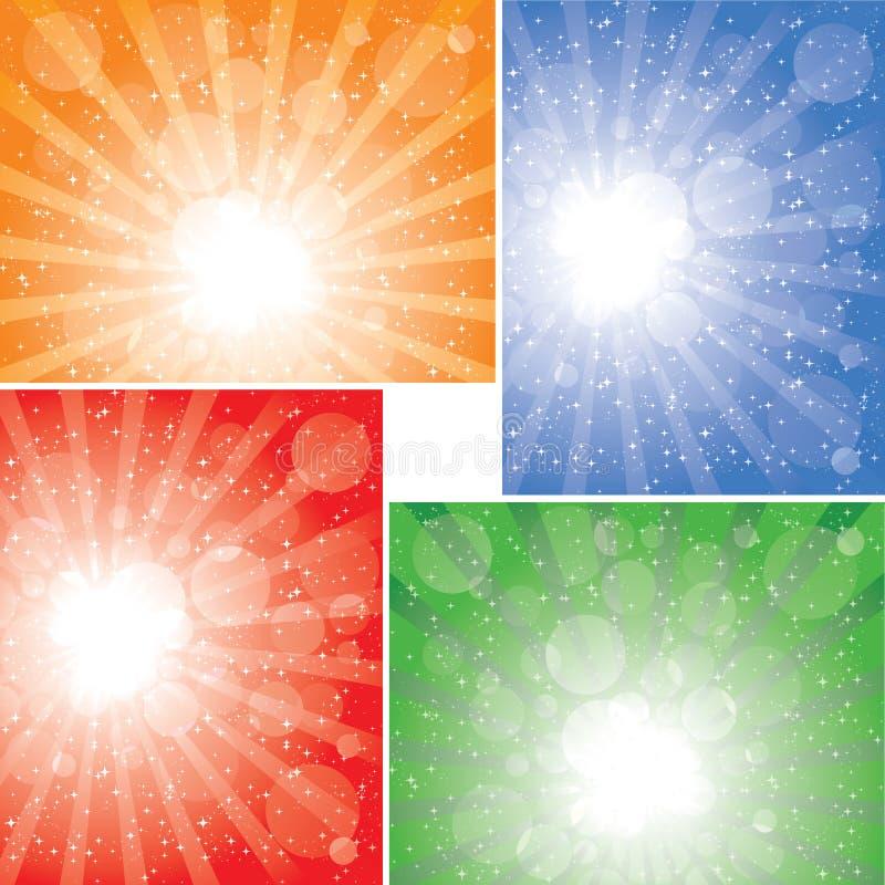 bakgrundssamlingssunbeam vektor illustrationer
