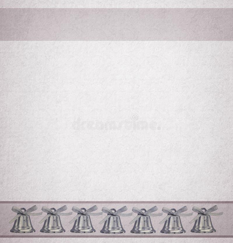 Bakgrundssidadesignen för photobook, kortet eller broschyren med försilvrar klockor vektor illustrationer