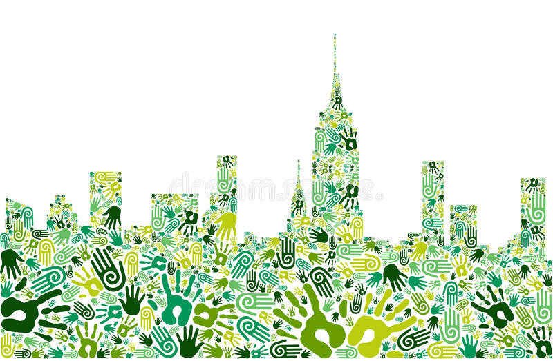 bakgrundsstaden går grön handhorisont stock illustrationer