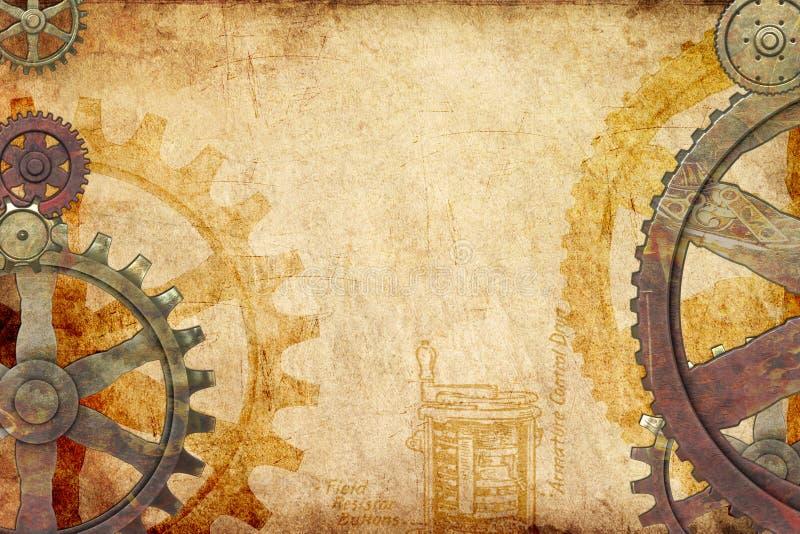 bakgrundssteampunk royaltyfri illustrationer