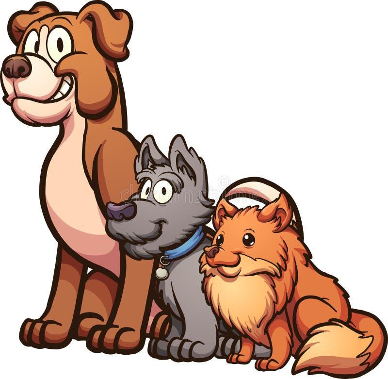 bakgrundstecknad filmdesignen dogs illustrationen stock illustrationer