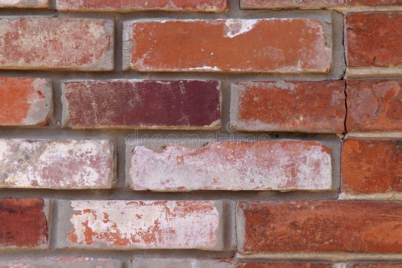 Bakgrundstextur av den gamla tegelstenväggen av röd tegelsten arkivfoto