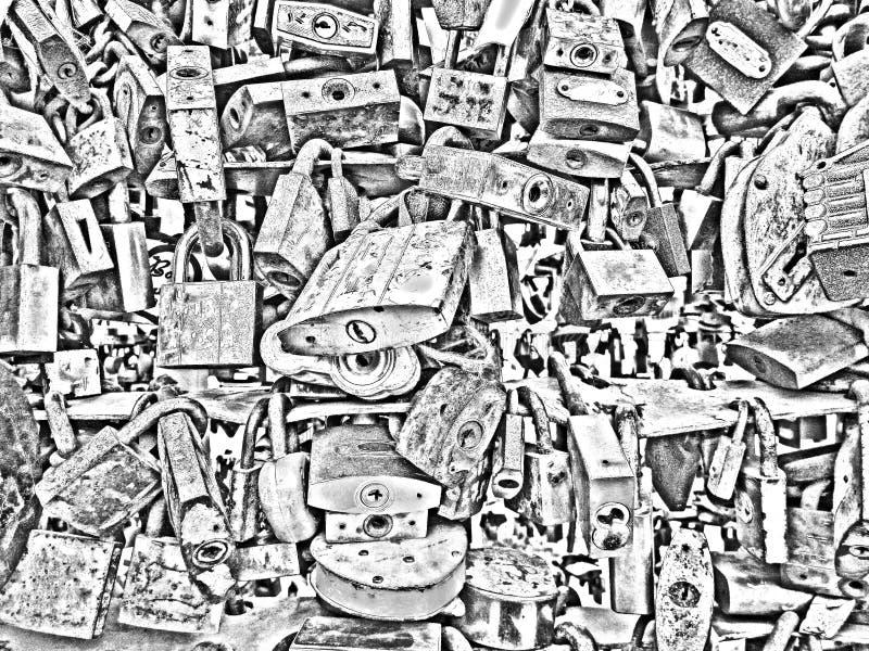 Bakgrundstextur av metalllås Rostigt och nytt järn royaltyfri illustrationer