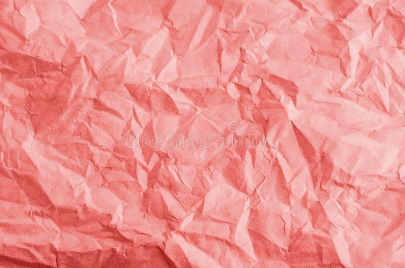 Bakgrundstextur för skrynkligt papper i korall royaltyfri fotografi