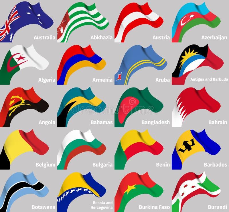 Bakgrundsuppsättning med krabba flaggor för värld royaltyfri illustrationer