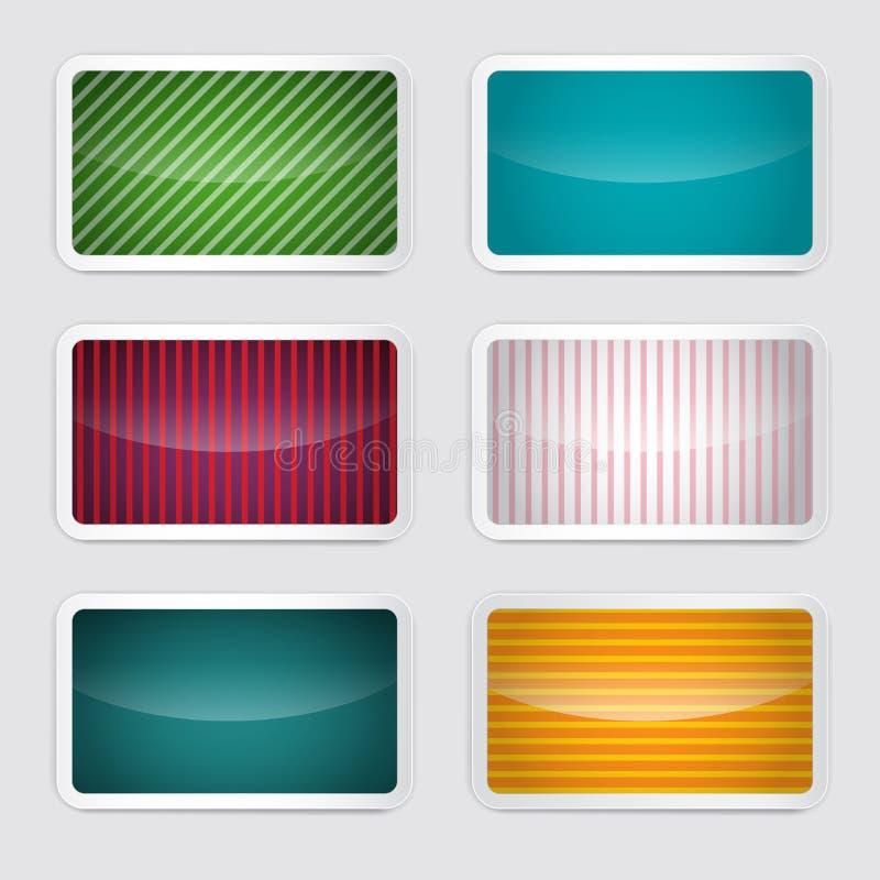 Bakgrundsuppsättning - Retro pappers- färgrika kort för vektor royaltyfri illustrationer