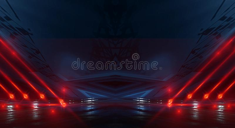 Bakgrundsvägg med neonlinjer och strålar Mörk korridor för bakgrund med neonljus Abstrakt bakgrund med linjer och glöd lampa arkivbild