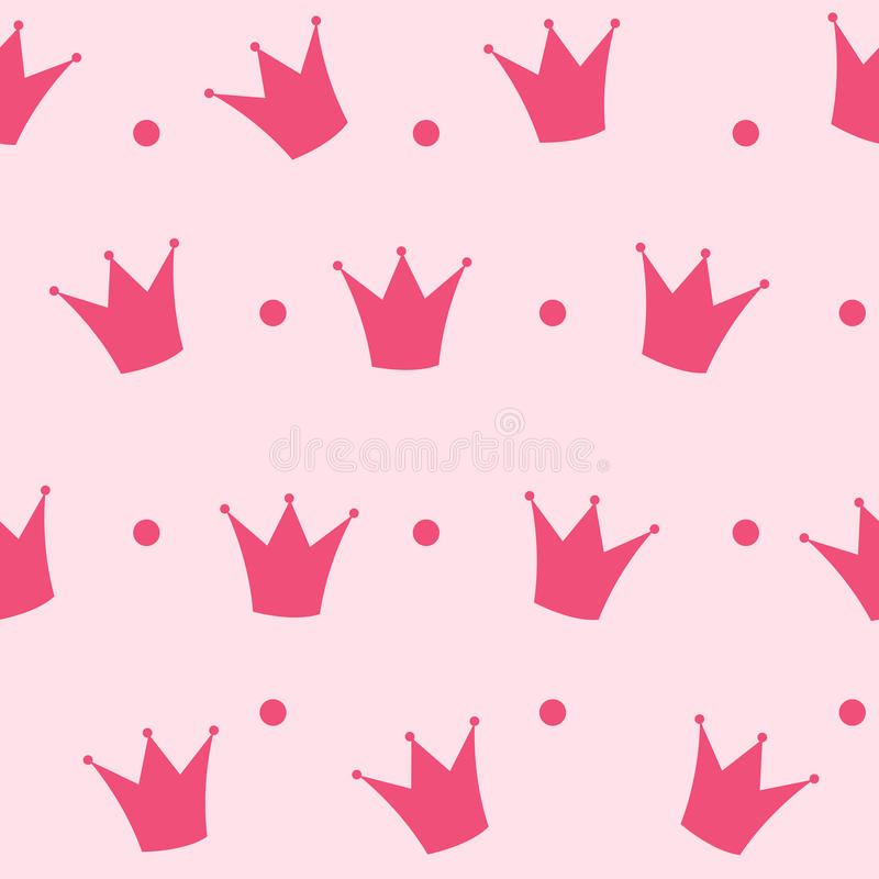 Bakgrundsvektor för prinsessa Crown Seamless Pattern royaltyfri illustrationer