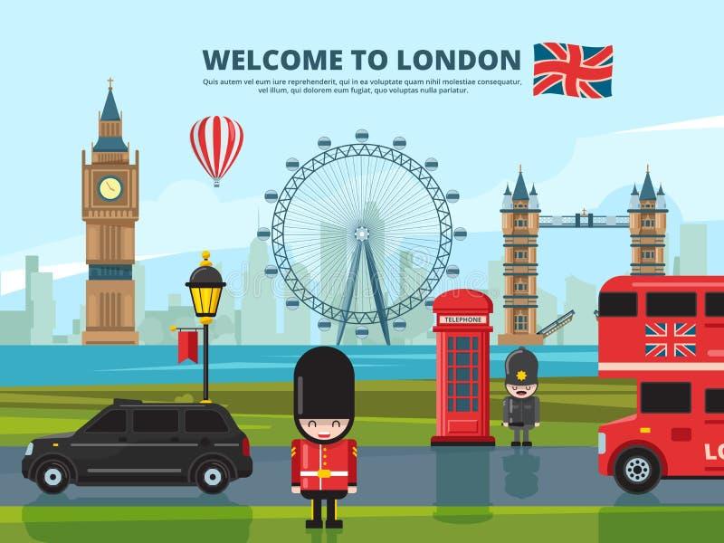 Bakgrundsvektorillustration med london det stads- landskapet England och UK-gränsmärken stock illustrationer