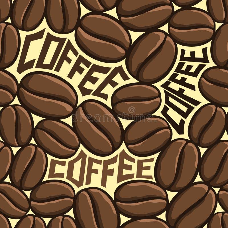 Bakgrundsvektorillustration på temat av grillade bruna kaffebönor för tapet royaltyfri illustrationer