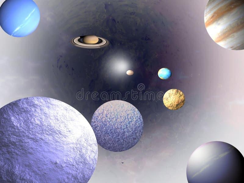 bakgrundsvetenskapsuniversum stock illustrationer