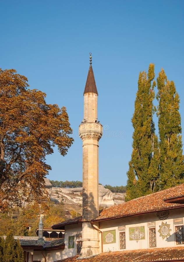 Bakhchisarai autumn. The minaret of a mosque in the autumn Bakhchisarai stock photos