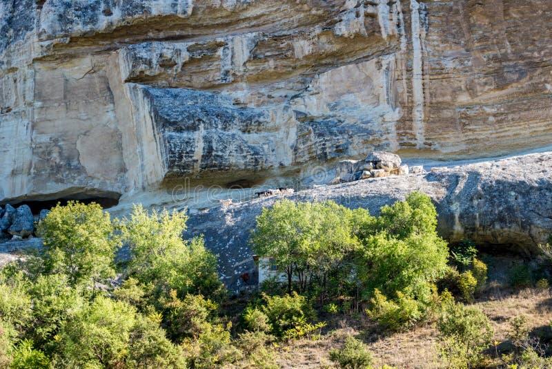 BAKHCHYSARAY, CRIMEA - SEPTEMBER 2014: Bakhchisarai Cave Monastery. Bakhchisarai Cave Monastery The Assumption Monastery of the Caves in Crimea, near royalty free stock photography