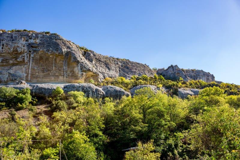BAKHCHYSARAY, CRIMEA - SEPTEMBER 2014: Bakhchisarai Cave Monastery. Bakhchisarai Cave Monastery The Assumption Monastery of the Caves in Crimea, near royalty free stock images