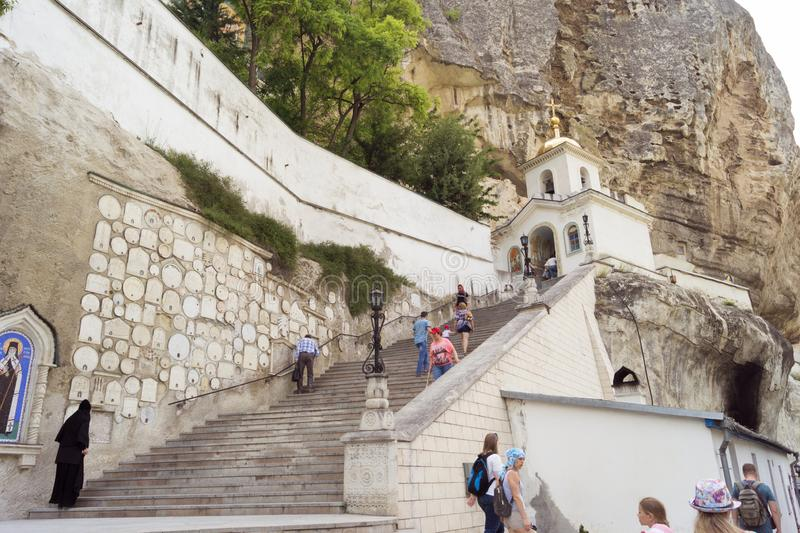 Holy Assumption Monastery in the cave. Bakhchisarai, Crimea - June 16, 2018: Holy Assumption Monastery in the cave royalty free stock photo