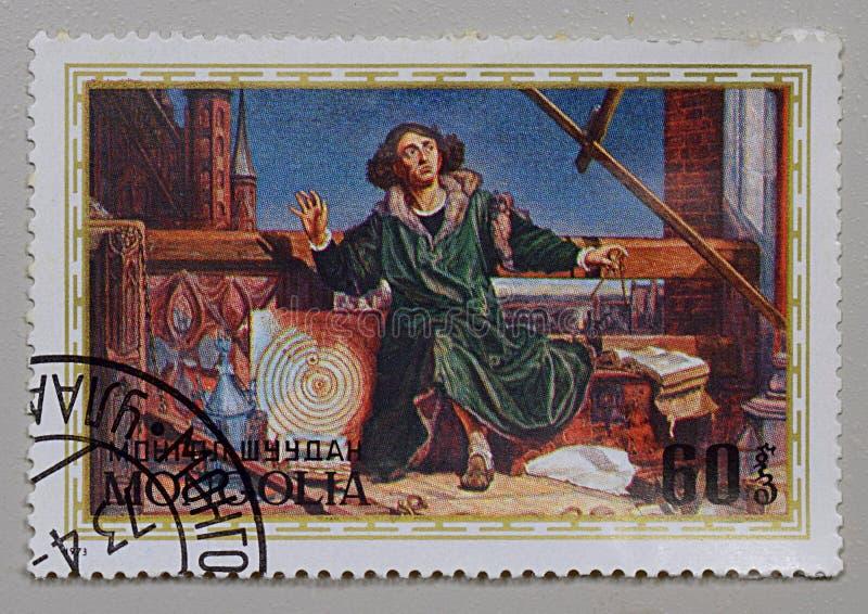 Bakhmut, Ukraina, styczeń, 2020 Pieczęć pocztowa z wizerunkiem Kopernika zdjęcie stock