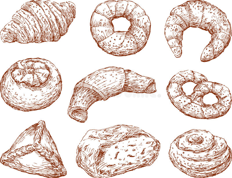 Baking. Vector drawing of a diggerent tasty baking stock illustration