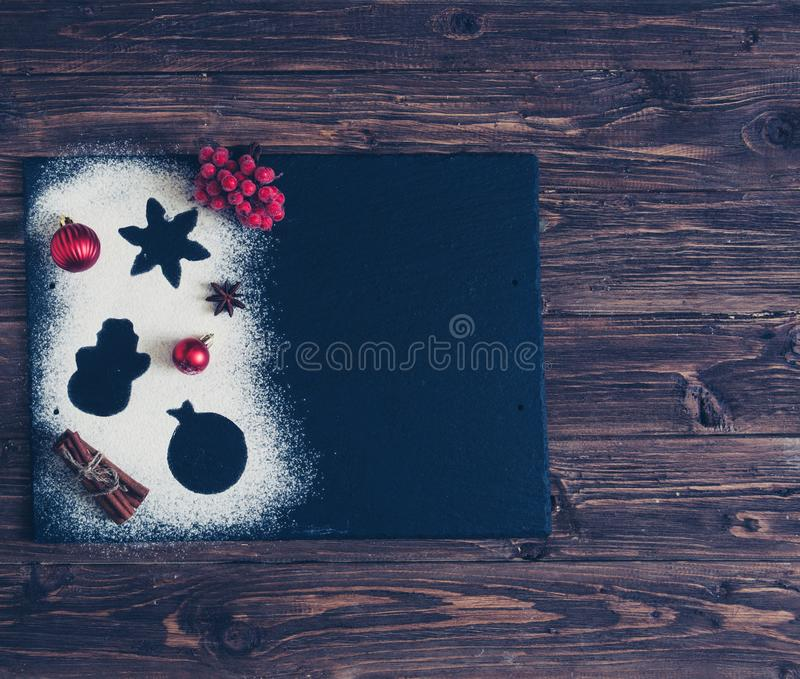 Baking christmas background. White flour and Ingredients for baking. Kitchen utensils. Space for text. Top view. Making baked good stock images