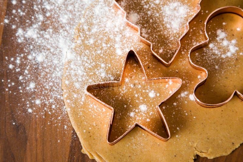 Baking christmas cookies royalty free stock photo