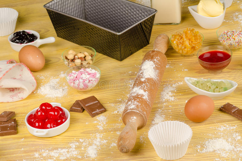 Baking cupcakes stock photos