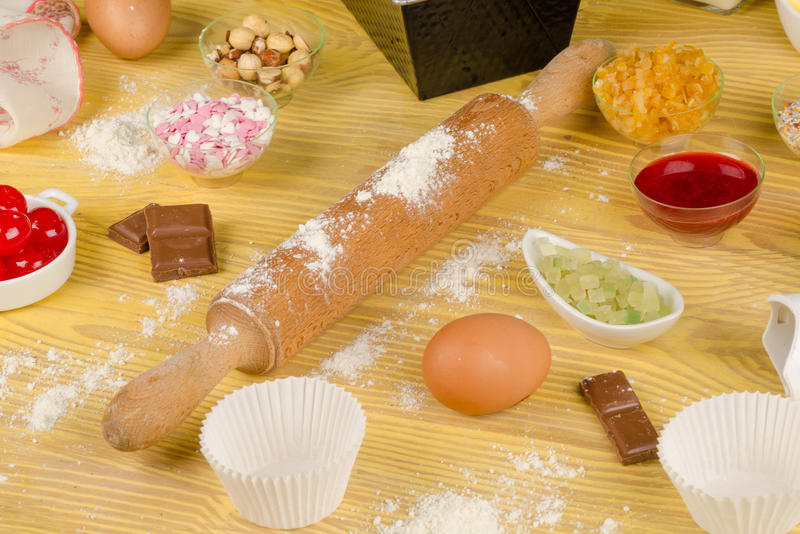 Baking cupcakes with topings stock photos