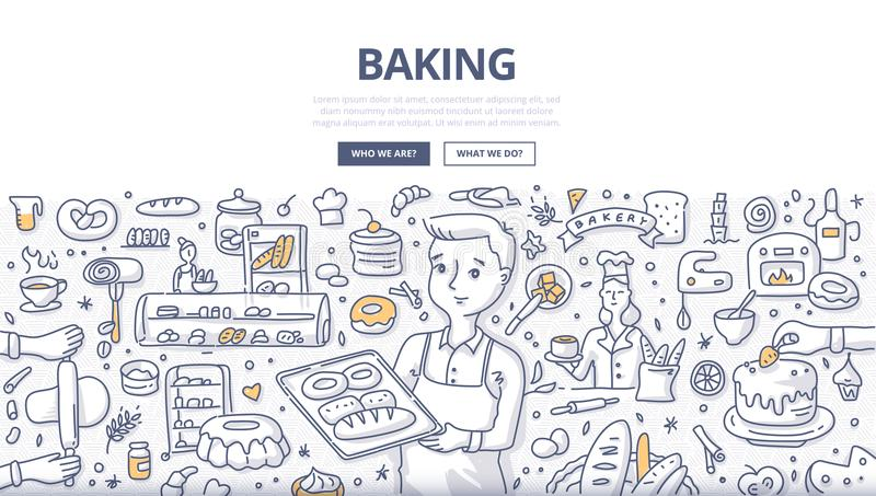 Baking Doodle Concept. Doodle vector illustration of a baker demonstrating fresh bread on a tray. Bakery production, bread shop and baking concept for web vector illustration
