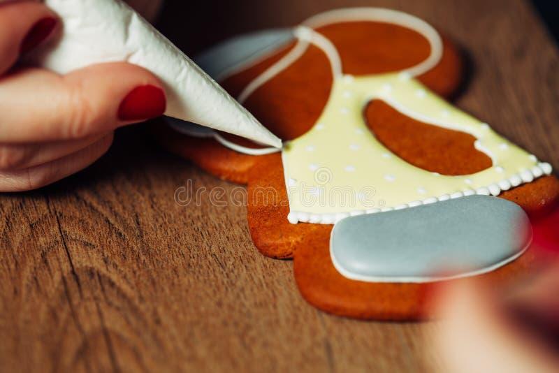 Baking, draw on baking, patterns. Drawing process close up stock image