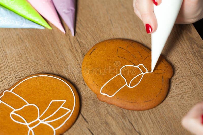 Baking, draw on baking, patterns. Process close up royalty free stock photo