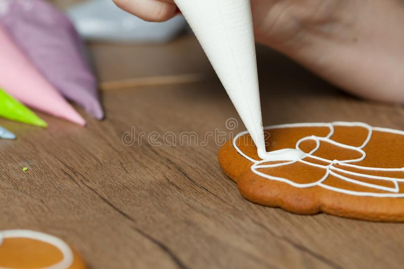 Baking, draw on baking, patterns. Process close up royalty free stock images