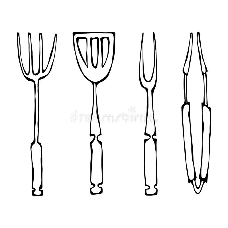 Baking Equipment or Barbeque Tools. Tongs for BBQ, Fork and Spatula. Isolated On a White Background. Realistic Doodle Cartoon Styl. Baking Equipment or Barbeque stock illustration