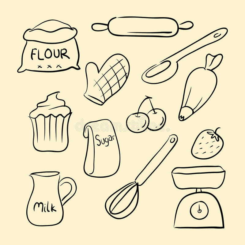 Baking Goods Doodle. Collection of baking goods in doodle vector illustration royalty free illustration