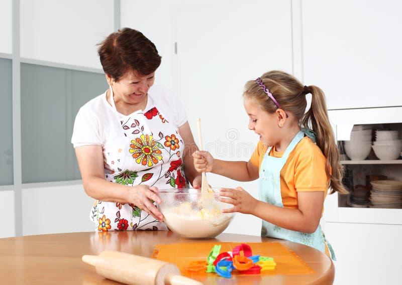 Baking and having fun stock image