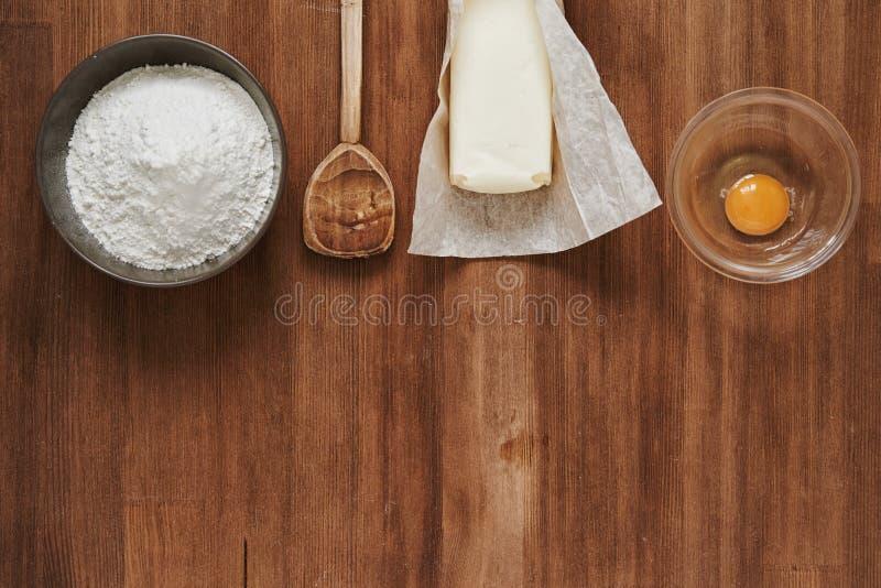 Baking ingredient. top view royalty free stock image