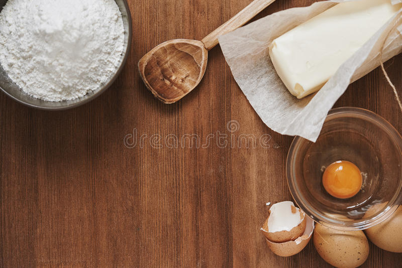 Baking ingredient. top view stock photography