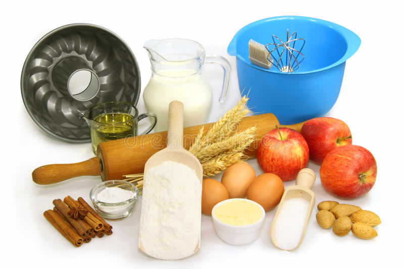 Baking ingredients. On bright background stock photography