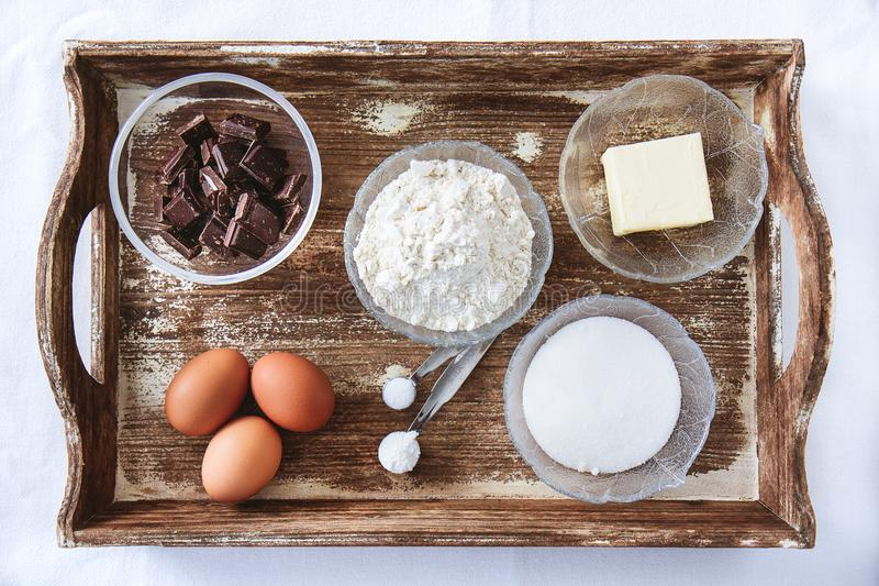 Baking ingredients for chocolate cake muffins or cookies royalty free stock photos