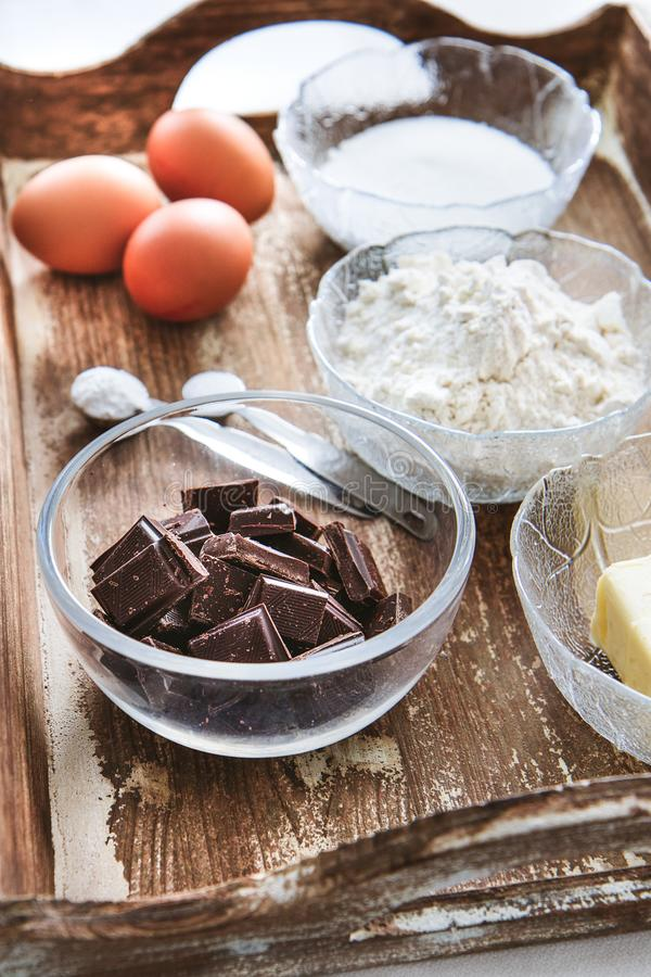Baking ingredients for chocolate cake muffins or cookies stock photos