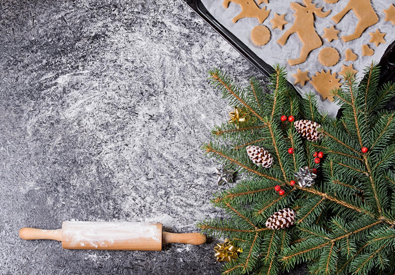 Baking ingredients for Christmas cookies gingerbread. Molds for baking, spices and decorations for Christmas. View of top royalty free stock image